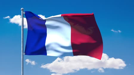 francja : French flag waving over a blue cloudy sky
