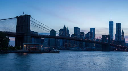 nuevo negocio : Timelaspe Sunset de 4 K del skyline de Manhattan y Brooklyn bridge - Nueva York - Estados Unidos Archivo de Video