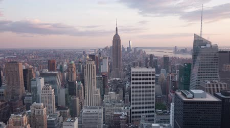 urban skyline : 4K Aerial Sunset timelaspe of Manhattan skyline - New York - USA
