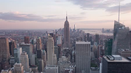 capital cities : 4K Aerial Sunset timelaspe of Manhattan skyline - New York - USA