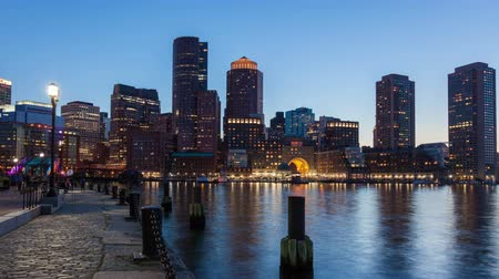 urban skyline : 4K Night timelapse of Boston skyline - Massachusetts - USA
