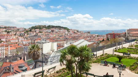 miradouro : 4K  timelapse of Lisbon rooftop from Sao Pedro de Alcantara viewpoint - Miradouro in Portugal - UHD Stock Footage