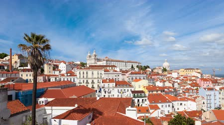 miradouro : 4K  timelapse of Lisbon rooftop from Portas do sol  viewpoint  Miradouro in Portugal  UHD