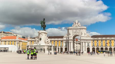 paco : 4k timelaspe of commerce square  Para do commercio in Lisbon  Portugal  UHD Stock Footage
