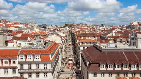 augusta : 4K timelpase of Augusta street near commerce square in Lisbon  Portugal  UHD