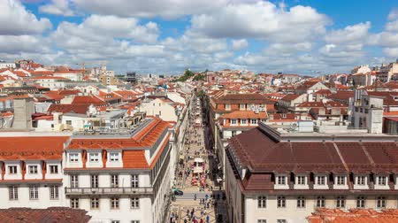 baixa : 4K timelpase of Augusta street near commerce square in Lisbon  Portugal  UHD