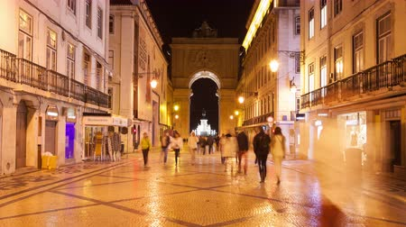 comercio : 4K night timelpase of Augusta street near commerce square in Lisbon  Portugal  UHD