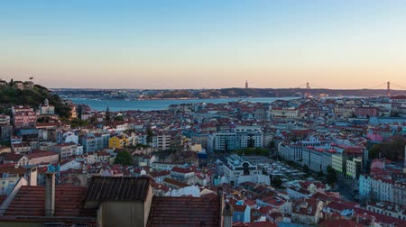 miradouro : 4K day to night timelapse of Lisbon rooftop from  Senhora do monte miradouro viewpoint in Portugal  UHD Stock Footage