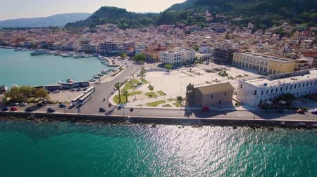 zante : 4K (UHD) Aerial  view of Zakynthos city in  Zante island, in Greece