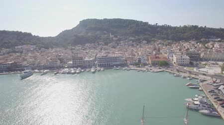 mooring : 4K (UHD) Aerial  view of Zakynthos city in  Zante island, in Greece  - log Stock Footage