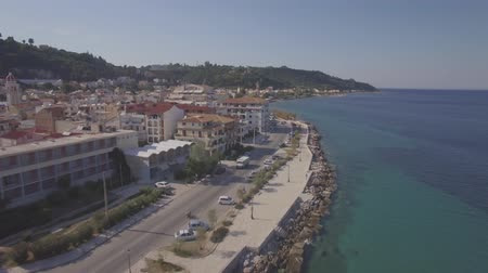 zante : 4K (UHD) Aerial  view of Zakynthos city in  Zante island, in Greece  - log Stock Footage