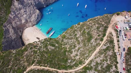 zante : 4k Aerial view of Navagio beach Shipwreck view in Zakynthos (Zante) island, in Greece Stock Footage