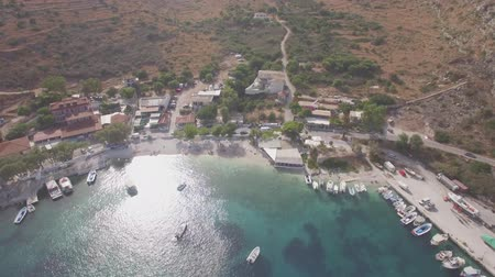 zante : 4K Aerial view of Agios Nikolaos in Zakynthos (Zakynthos) island, in Greece - log Stock Footage