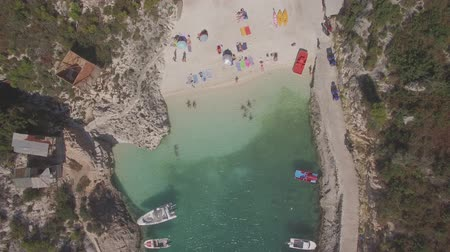 zante : 4K Ungraded Aerial view of Porto Vromi beach in Zakynthos (Zakynthos) island, in Greece - Log