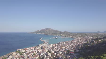 zante : 4K ungraded Aerial view of Zakynthos city from Bochali in Zante island, Greece - Log Stock Footage