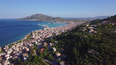 mooring : 4K Aerial view of Zakynthos city from Bochali in Zante island, in Greece