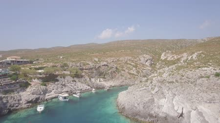 zante : 4K ungraded Aerial view of Porto limnionas beach in Zakynthos (Zante) island, in Greece - Log