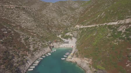 mooring : 4K Ungraded Aerial view of Porto Vromi beach in Zakynthos (Zakynthos) island, in Greece - Log