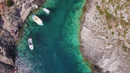 limnionas : 4K Aerial view of Porto limnionas beach in Zakynthos (Zante) island, in Greece