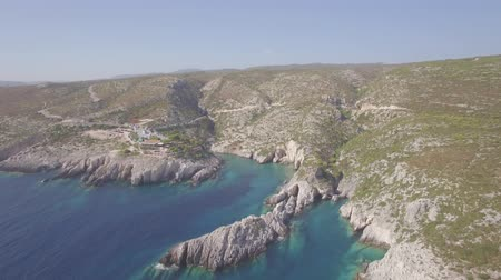 limnionas : 4K ungraded Aerial view of Porto limnionas beach in Zakynthos (Zante) island, in Greece - Log