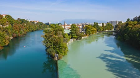 geneva : 4K timelapse aerial view of Arve an Rhone river confluence in Geneva Switzerland
