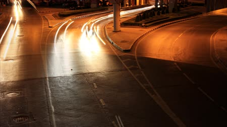 capital cities : Streets at night with lights from the car. Stock Footage