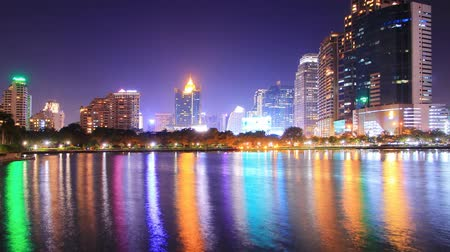 capital cities : City at night Bangkok, Thailand (Two shots.) Stock Footage