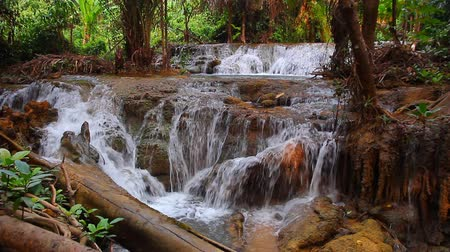 Канчанабури : Waterfall in woods with water throughout the year. In Kanchanaburi. Стоковые видеозаписи