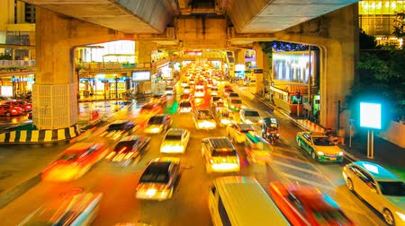 capital cities : Busy traffic of a city at night Bangkok Thailand.