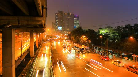light trails : Traffic in the city. There are several freeway lane. Stock Footage
