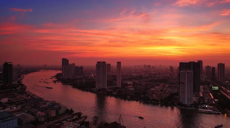 city resident : Bangkok City at evening time, Hotel and resident area in the capital of Thailand Stock Footage