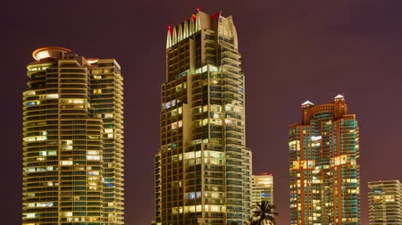 используемый : Buildings in Miami Beach night, time lapse Стоковые видеозаписи