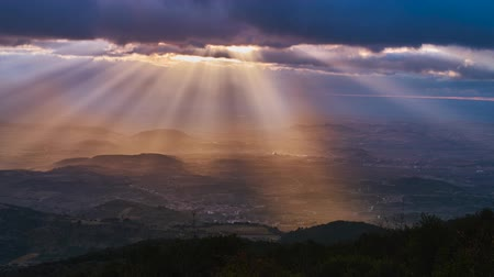 basque : Sunbeams over the valley. timelapse