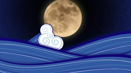 Animation of stylized drawn sea with waves with a moon rise. Moon is actual photo of moon taken by me on Saturday, May 5, 2012.
