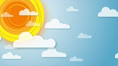 Stylized animation of sky with rotating sun and moving clouds.