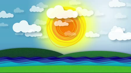 Animated scene of hills, stream or river, radiating sun and moving clouds. Wideo