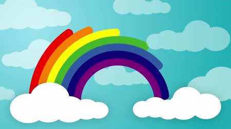 Animated rainbow - Rainbow is created as each colour beam emerge from one cloud and ends in a second cloud.