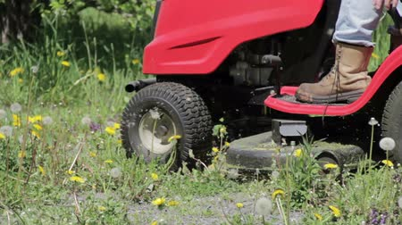Ride-on lawnmower cutting dandelions.