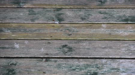 Rain falling on wooden deck. Wideo