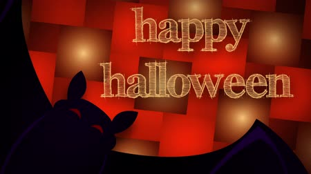 múlt : Illustrated bat flys past camera with Happy Halloween appearing at the end. Stock mozgókép