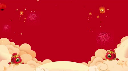 Çin yeni yıl : 2D Chinese New Year Motion graphic looping background