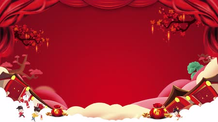 китайский новый год : 2D Chinese New Year Motion graphic looping background