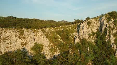 slovinsko : Aerial footage of Mountain range Gora plateau above Vipava valley in Slovenia central Europe