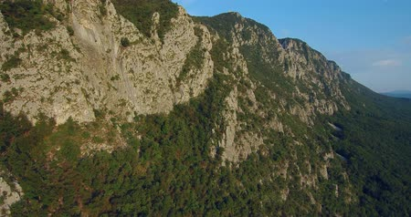 slovenya : aerial footage of Mountain Nanos above Vipava valley covered with forest