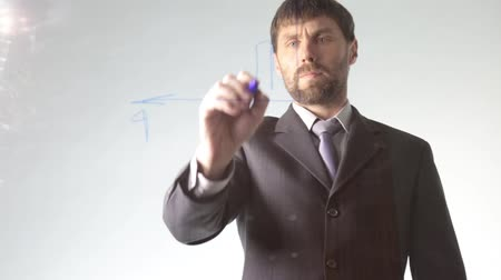 projects : bearded businessman draws the schedule, circuit block and diagram Stock Footage