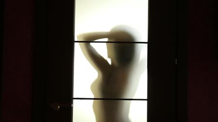 gag : seductive Woman dances behind blurry glass door, sexually holding gag