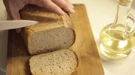 slicer : Cuts slice of bread for French toast Stock Footage