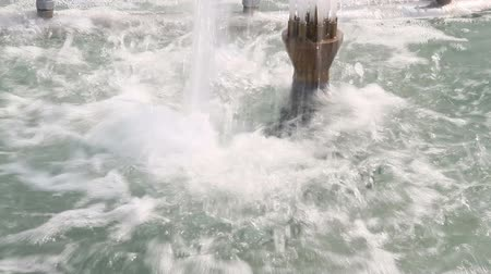 The water spray from the fountain