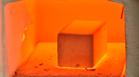 Molten material sample in a laboratory furnace Stock Footage