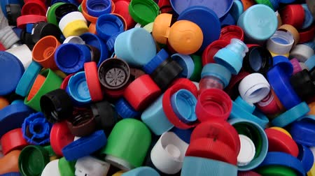 Plastic lids from bottles prepared for recycling